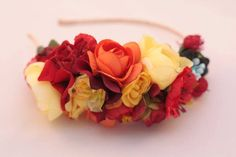 flower headband adult, Rose Flower Crown, Headpiece, Flower headband, Handmade Headband, red floral headpiece, Gift for Woman Three Snails