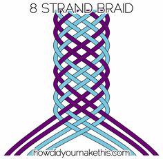 Split your strands into two groups - 4 on the left, 4 on the right.Start with the farthest left strand - take it over, under, over. Let it join the group on the right (which will now have 5 strands.)Now take the farthest right strand under, over, under, over, and let it join the group on the left. Both groups will be even again.Repeat those two steps until desired length is reached!