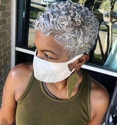 Natural Hair Short Cuts, Short Natural Haircuts, Tapered Natural Hair, Short Grey Hair, Natural Hair Styles For Black Women, Short Hair Cuts, Gray Hair, Short Curls, Dope Hairstyles