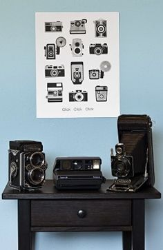 Cameras! Letterpress! Oh my! I just adore this super-sweet vintage camera print from Sycamore Street Press. It's a simple black and silver print that just tickles the design-nerd camera-lover in me. $35