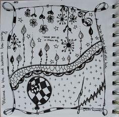 Found on scrapsisters. Doodles Zentangles, Zen Doodle, Doodle Drawings, Alexander Mcqueen Scarf, Dangles, Calligraphy, Inspire, Garden, Lettering