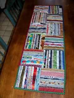 Table runner or wall hanging made entirely from fabric selvages--trash to treasure!