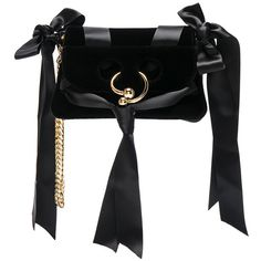 J.W. Anderson Mini Pierce Velvet Bow Bag (25.628.700 IDR) ❤ liked on Polyvore featuring bags, handbags, shoulder bags, handbags shoulder bags, purse shoulder bag, shoulder handbags, mini purse and chain strap purse