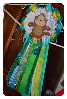 Baby Shower: Baby Shower Mum - Baby Boy - Tropical Monkey - Hand Made    This was my very first attempt at making a mum and I had so much fun making it! It was so much easier than I thought and I was so happy with the end result!     Mum By: Ellie of True H-art  www/facebook.com/mytruehart  Photo By: Flirtography  www.facebook.com/flirtography