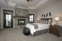 Master bedroom/in & out FP/black windows/blinds