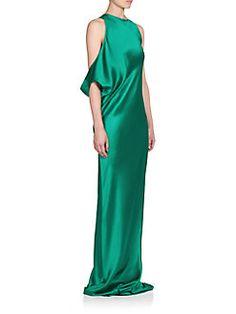Ann Demeulemeester - Rasoseta Silk Draped-Shoulder Gown