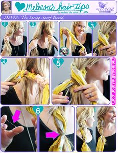 Style University- How to do a side braid with a scarf. #meleesathesalon #diy #sidebraid #hairstyles