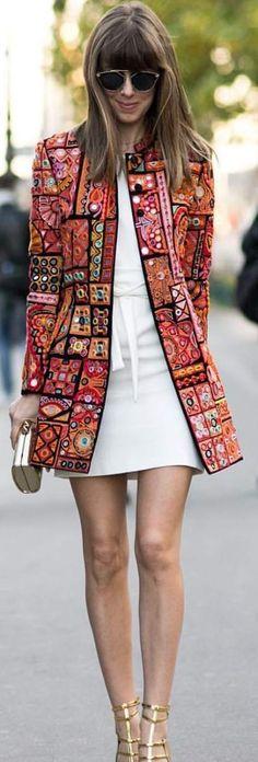 Casual suit/Margo & Me Embellished Jacket Pfw Streetstyle Inspo Trendy Fashion, Boho Fashion, Spring Fashion, Winter Fashion, Fashion Dresses, Womens Fashion, Fashion Design, Trendy Style, Fashion Clothes