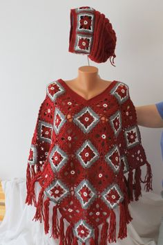 100% handmade Poncho Crochet Red White and Grey poncho with fringes and handmade hat handmade poncho Model Autumn -  Winter (174.00 USD) by NiaBoutique7