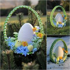Artistic walk from Alicja___Alicja Paluch - Crochet Quilling Ideas Easter Tree, Easter Wreaths, Easter Eggs, Quilling, Diy Ostern, Easter Crochet, Egg Art, Egg Decorating, Spring Crafts