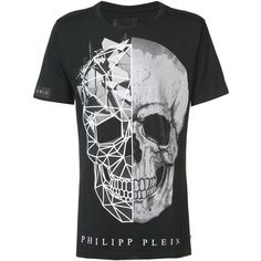 Philipp Plein 'A Big Trouble' T-shirt (1.955 BRL) ❤ liked on Polyvore featuring men's fashion, men's clothing, men's shirts, men's t-shirts, black, mens short sleeve t shirts, mens short sleeve cotton shirts, mens short sleeve shirts, mens skull t shirts and mens skull shirts