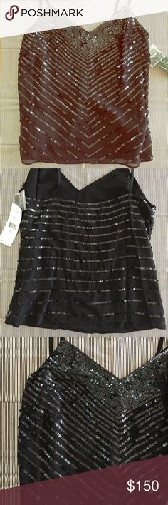 Ralph Lauren Sequin Dressy Tank Gorgeous, showstopping shirt! • So bummed that it doesn't fit me 😭 sequins are sewn on sheer overlay with black lining • Ralph Lauren Tops Tank Tops