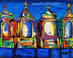 Colorful New Orleans Cemetery by EatLiveLoveNOLA on Etsy