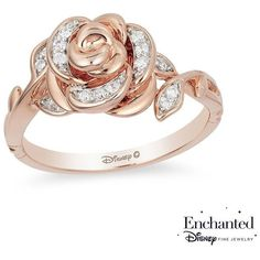Enchanted Disney Belle 1/10 CT. T.W. Diamond Rose Ring in 10K Rose... (8.630 ARS) ❤ liked on Polyvore featuring jewelry, rings, rose diamond ring, pink rose gold ring, leaf diamond ring, rose gold jewelry and diamond jewellery