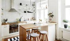 Барная стойка на кухне в скандинавском стиле