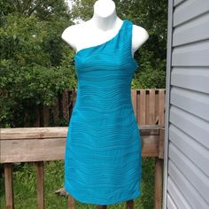 "New one strap bodycon dress L Super cute teal/blue one strap bodycon  textured lightweight fabric with stretch all over, fully lined new with tags. Size large. 34"" from shoulder to hem. By Heart Soul $58 HeartSoul Dresses One Shoulder"
