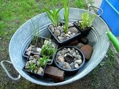 Miniteich-for-balcony-or-terrace-quickly-make-yourself. Back Gardens, Small Gardens, Outdoor Gardens, Mini Pond, Container Water Gardens, Recycled Garden, Diy Garden, Acer Garden, Garden Types