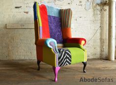 Modern British and handmade bold multicoloured #Patchwork Chesterfield #Chair. Totally unique in a range of colourful fabric ranging in velvets, fabric, prints and wool   Abode Sofas