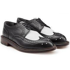 Robert Clergerie Two-Tone Leather Brogues (3,730 GTQ) ❤ liked on Polyvore featuring shoes, oxfords, flats, black, brogues, flat shoes, black flats, laced up flats, black lace up flats and black leather flats