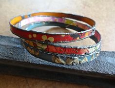 Large size vintage tin bangle trio by pipnmolly on Etsy, $54.00