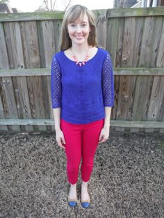 March 2015 Stitch Fix Skies are Blue Dolen Lace Blouse, J. Crew pants, Cole Haan shoes, Stella and Dot Necklace