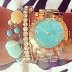 Beach rocks- turquoise Marc Jacobs watch with mint & gold accessories!