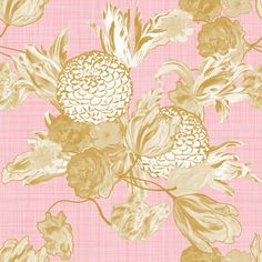 Mid Century Modern Floral ~ Gilt on Dauphine ~ Linen ~ by PeacoquetteDesigns on Spoonflower ~ bespoke fabric, wallpaper, wall decals & gift wrap ~ Join PD  ~ https://www.Peacoquette.com  #Spoonflower #Peacoquette