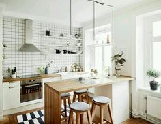 There is no question that designing a new kitchen layout for a large kitchen is much easier than for a small kitchen. A large kitchen provides a designer with adequate space to incorporate many convenient kitchen accessories such as wall ovens, raised. Scandinavian Apartment, Scandinavian Kitchen, Scandinavian Style, Nordic Kitchen, Scandinavian Benches, Swedish Kitchen, Scandinavian Interiors, Swedish Home, Kitchen Interior
