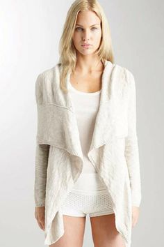 Eila Cardigan - This waterfall cardigan has a beautiful seam and stitch detail.  Men's striped shirting is at neck, hem and sleeve opening.
