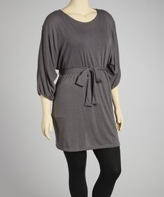 Take a look at the Gray Tie-Waist Dolman Sweater Tunic - Plus on #zulily today!