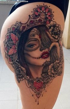 50 Unique And Sexy Hip Tattoo Designs You Must Have - Page 38 of 50 - Chic Hostess - Unique And Sexy Hip Tattoo Designs You Must Have; Skull Thigh Tattoos, Skull Rose Tattoos, Face Tattoos, Badass Tattoos, Leg Tattoos, Body Art Tattoos, Girl Tattoos, Hip Tattoos Women, Sexy Tattoos For Girls
