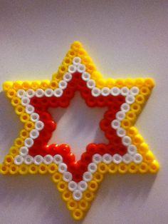 hama yellow, red and white star