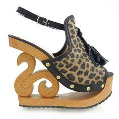 LF03118 Womens Tassel Leopard Wooden Wedge Peep Toe Platform High Heel Club Clog Sandals