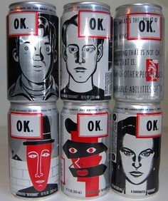 "To give the cans and print ads an edgy look, OK Soda featured designs by ""alternative"" cartoonists Daniel Clowes (""Ghost World"") and Charles Burns (""Black Hole"")."