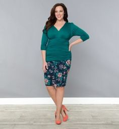 Paris Pencil Skirt @ www.kiyonna.com - love the options with both colors of this skirt, I want them both!