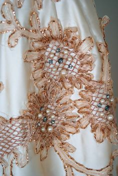 1950's Ceil Chapman cocktail dress with rhinestones, metallic ribbon and pearl embroidery. Ceil Chapman is often said to be Marilyn Monroe's favorite designer.