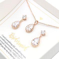 Rose Gold Bridal Jewelry Set Bridesmaid Gift Set Rose Gold Wedding