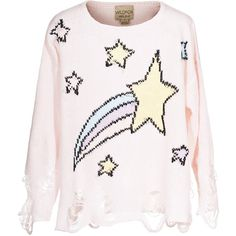 WILDFOX Lennon Shooting Stars Destroyed knit sweater (4.710 UYU) ❤ liked on Polyvore featuring tops, sweaters, shirts, jumpers, over sized sweaters, oversized sweater, oversized white sweater, knit sweater and oversized shirt