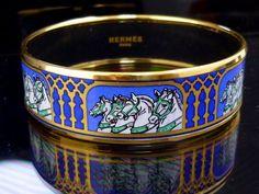 100% Authentic Hermes Cloisonne Bangle Bracelet Enamel Blue Horse Cheval K780 #Hermes #Bangle