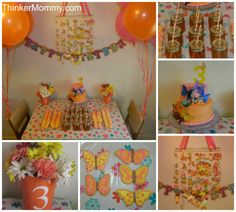 Orange & Pink Butterfly Birthday Party desert table for 3 year old girl #rainbow #cookies #birthday