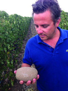 Christophe Baron, vigneron for Cayuse Vineyards near Milton-Freewater, Ore., holds a cobblestone from his estate vineyard. Baron, a native of France, was the first to recognize The Rocks District as an important growing area. (Andy Perdue)