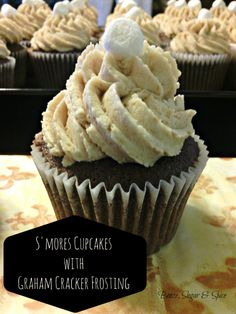 S'mores Cupcake with Graham Cracker Frosting | Booze, Sugar & Spice