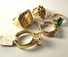 18K Goldplated rings vintage lot of 5 , Size 7, USA made, CZs, marked,(LotM53)NR #AmericanRing #Variety