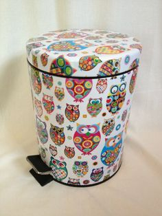 owl theme fashion garbage can girls room decor teen room decor girls owl room decor