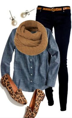 Chambray, black skinnies, cheetah shoes, and an infinity scarf - LOVE!