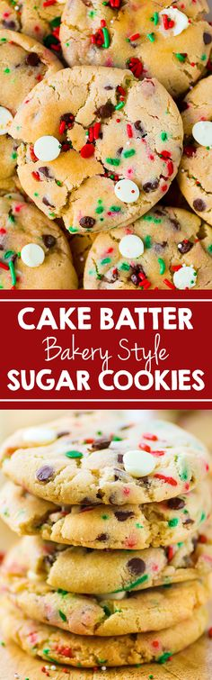 Easy and delicious Cake Batter Sugar Cookies made better than a bakery.  This cookie dough is amazing!  #cookies #holiday #recipe