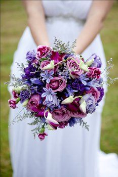 Wedding, Flowers, White, Purple, Silver - Photo by Brad Peens