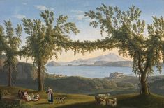 JAKOB PHILIPP HACKERT Country folk resting beneath vines in the hills above Solfatara, with a view of Ischia, Procida and the Bay of Pozzuoli beyond  Oil on canvas: 25.5(h) x 38.4(w) in /  64.8(h) x 97.5(w) cm  Signed, inscribed and dated 1793