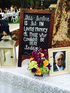 In memory of sign at wedding - lovely way to remember lost loved ones
