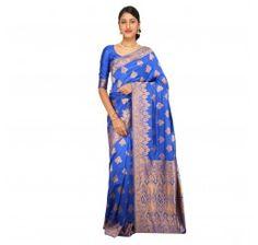 Zari work tusser silk saree in blue